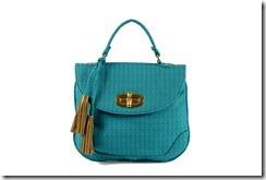 Bolsa de mão em tecido turqueza It Bag inspired tendência Color Block Coleção primavera verão 2012 Penelope Acessorios semijoias e bijuterias