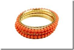 conjunto de Pulseiras dourada e coral Color Blocking Coleção primavera verão 2012 Penelope acessorios bijuterias e semijoias