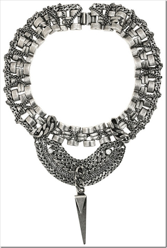 maxi colar DANNIJO-Carmela-silver-plated-spike-necklace