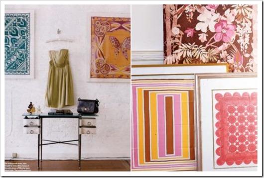 quadro com lenços decoração barata e criativa