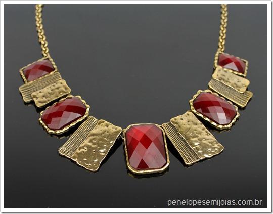bijuteria burgundy colar com dourado penelope bijuterias