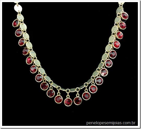bijuteria fina colar com cristal burgundy