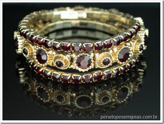 bijuteria fina pulseira dourada com strass burgundy - bijoux fantasie