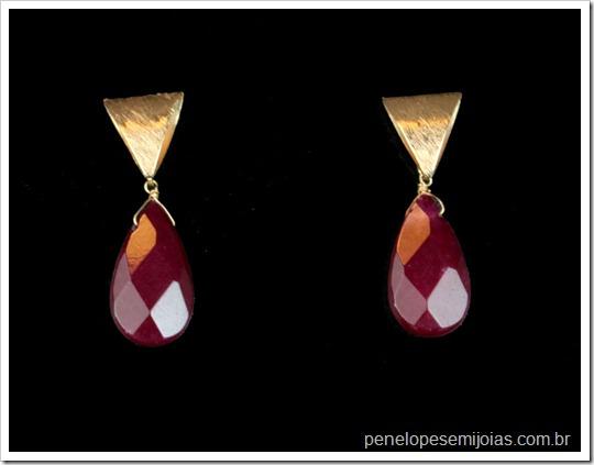 bijuteria fina semi joia folheada a ouro com pedra preciosa cor burgundy