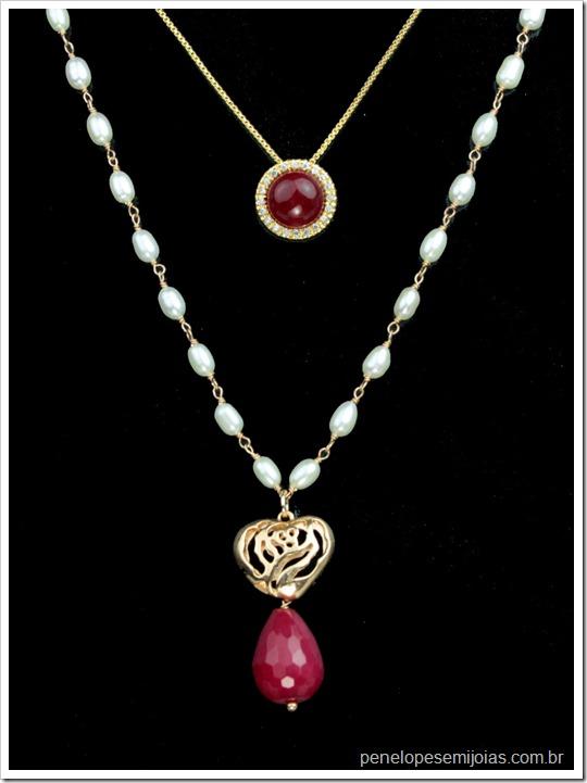 bijuteria fina semijoias folhada a ouro com perola strass pedra preciosa joia delicada burgundy