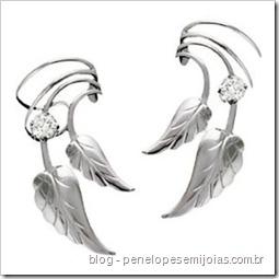 brinco de orelha inteira - ear cuff - cuff earring -ear piece ear cuff folhas com zirconia
