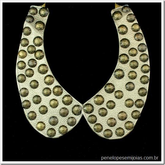 maxi-colar gola dourada tachas ouro velho gold bib necklace