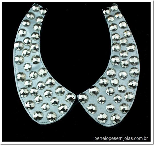 maxi colar gola prata com tachas silver bib necklace