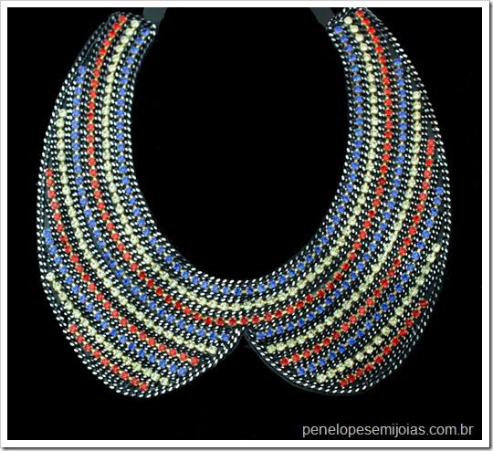 maxi colar gola strass colorido dannijo inspired