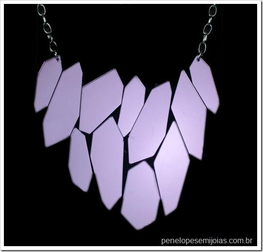 maxi colar mosaico espelhos lilas statment necklace