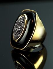 semijoia bijuetria fina anel folheado a ouro 18 h com pedra onix e druza ameixa