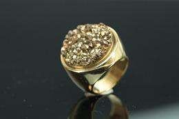 semijoia bijuteria fina anel folheado a ouro 18 k com druza dourada 1
