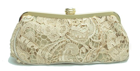 bolsa de festa nude bege em renda guipier e fecho dourado
