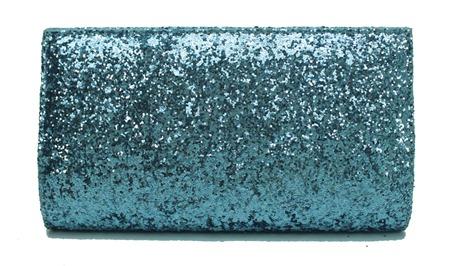 carteira de mão bolsa festa balada azul jeans em tecido com brilho