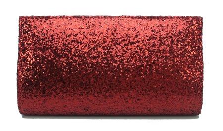 carteira de mão bolsa festa balada vermelho burgundy em tecido com brilho