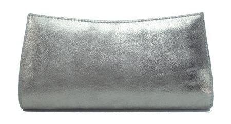 carteira de mão couro estonado prata