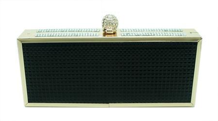 clutch box bolsa de festa em sintético texturizado preto e acabamento e fecho dourado com strass