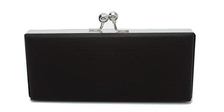 clutch box bolsa de festa em tecido preto com fecho prateado