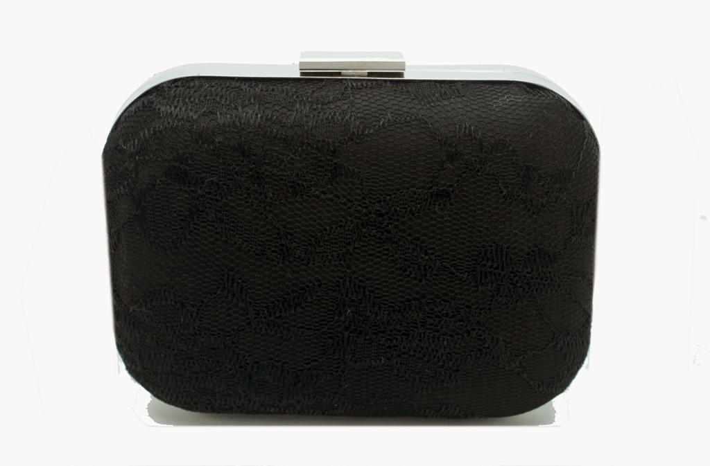 03743cc8e clutch box bolsa de festa preta com renda e fecho liso prateado