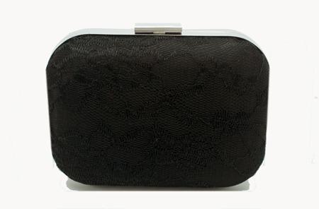 clutch box bolsa de festa preta com renda e fecho liso prateado