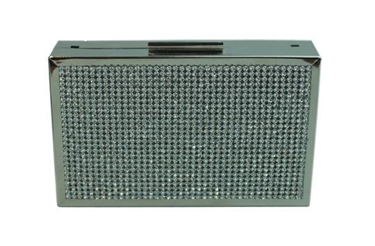 clutch box prateada com frente de cristais