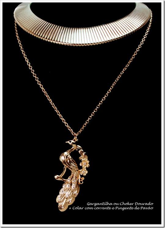 tendencia acessorios gargantilha dourada choker necklace cuff com colar de corrente e pendente pingente pavão