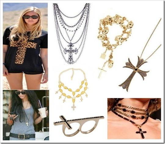 tendência acessórios bijuterias colar brinco pulseira com Cruz Crucifixo estilo rock gótico (21)