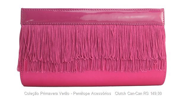 carteira bolsa de mão clutch verniz com franja can-can pink neon tendência acessorios verão 2013
