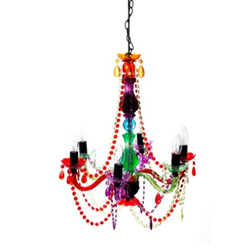 lustre candelabro cristal colorido