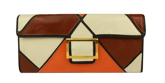 carteira bolsa de mão mondrian branca marrom e coral e fivela retangular dourada