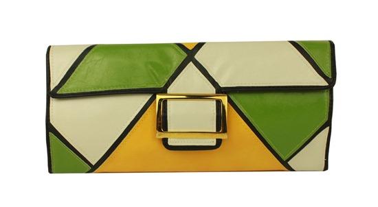 carteira bolsa de mão mondrian branca verde amarelo e fivela retangular dourada