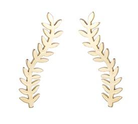 Brinco EAR CUFF GALHO-DE FOLHAS-folhas-folheado-à-ouro