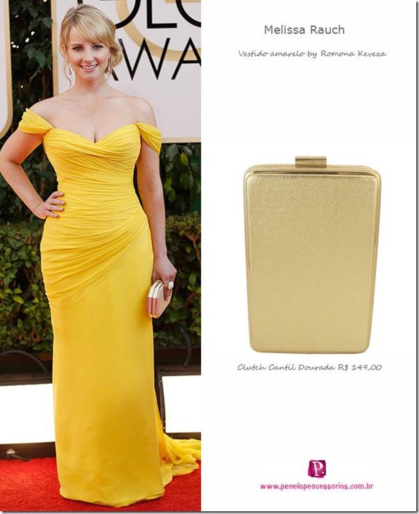vestidos-de-festa,-vestido-amarelo,-dourada,-clutch-de-festa,-clutch-de-acrílico,-bolsa-de-festa,-Melissa-Rauch,-looks-oscar,-red-carpet,-golden-globe-awards-2014
